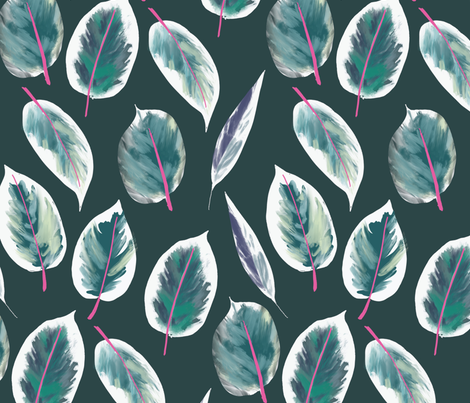 Rubber plant, rubber tree, ficus elastica Ruby fabric by canigrin on Spoonflower - custom fabric