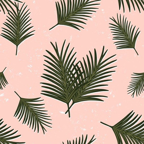 Green Palm Leaves on Pink