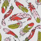 Feathers Scattered - Pink & Green on Gray