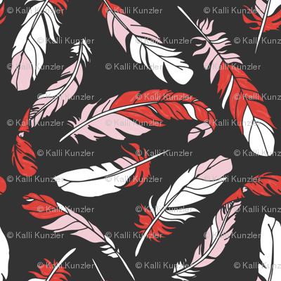 Feathers Scattered - Pink & Red on Charcoal