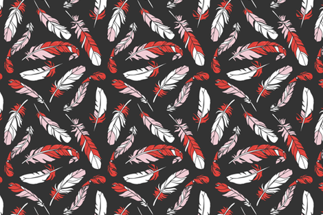 Feathers Scattered - Pink & Red on Charcoal fabric by sweeterthanhoney on Spoonflower - custom fabric