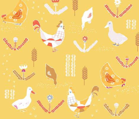 Rustic chicken barnyard in pumpkin mustard fabric by canigrin on Spoonflower - custom fabric