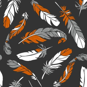 Feathers Scattered - Orange & Gray on Charcoal