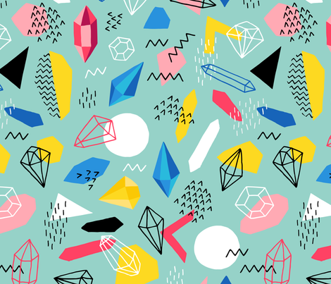 Graphic Gems Memphis style fabric by heleen_vd_thillart on Spoonflower - custom fabric