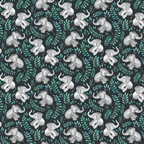 Tiny Laughing Baby Elephants with Emerald and Turquoise leaves