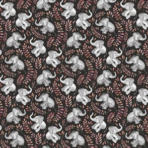 Tiny Laughing Baby Elephants with coral leaves