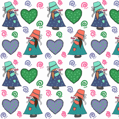 Pigtail Patty & Annie Apple Cheeks fabric by franbail on Spoonflower - custom fabric