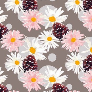 Daisies and Pine Cones Gray Upholstery Fabric