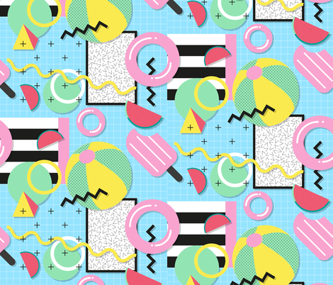 Memphis Pool Party fabric by lydesign on Spoonflower - custom fabric