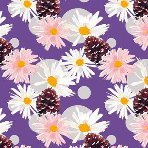 Daisies and Pine Cones Purple Upholstery Fabric