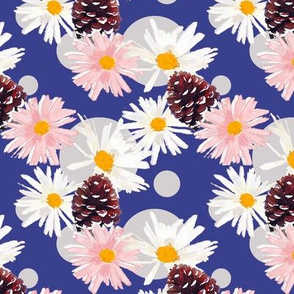 Daisies and Pine Cones Blue Upholstery Fabric