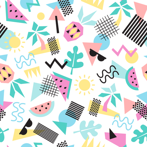 Memphis style summer fabric by laura_may_designs on Spoonflower - custom fabric