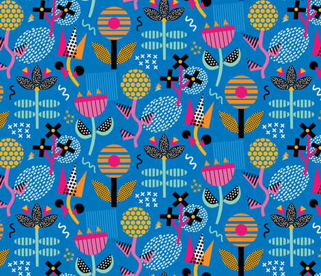Memphis Blooms fabric by designs_by_lisa_k on Spoonflower - custom fabric