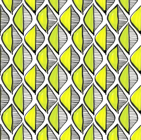 leaf geometric - green fabric by moirarae on Spoonflower - custom fabric