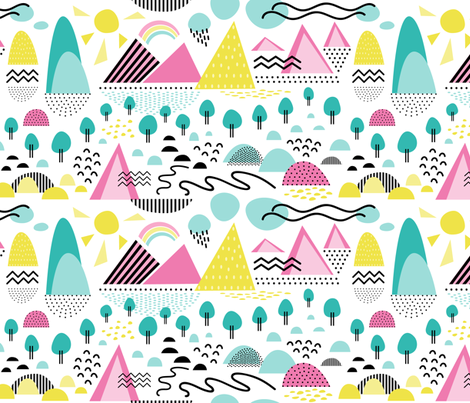Landscape Memphis Style fabric by dunnspun on Spoonflower - custom fabric
