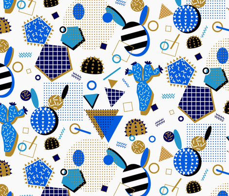 Cobalt Blue Cactus fabric by torysevas on Spoonflower - custom fabric