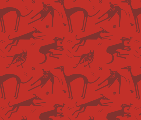 whippet-greyhound_red fabric by wren_leyland on Spoonflower - custom fabric