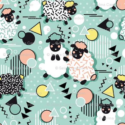 Mééé Memphis sheep // mint background yellow @ peach circles & triangles black & white sheep arrows lines & dots