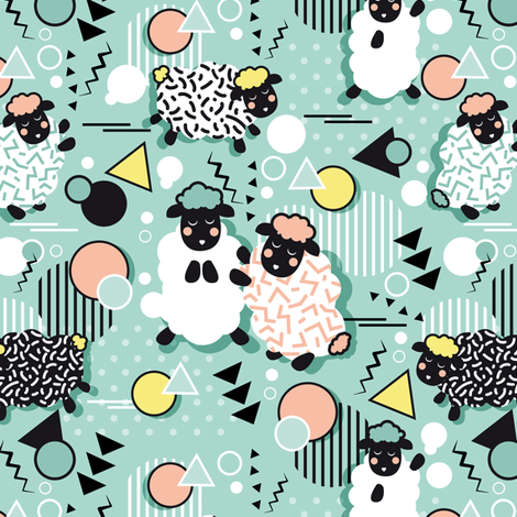 Mééé Memphis sheep // mint background yellow @ peach circles & triangles black & white sheep arrows lines & dots fabric by selmacardoso on Spoonflower - custom fabric
