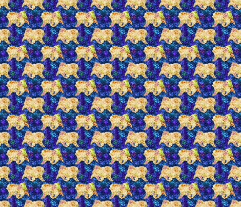 Cosmic trotting Keeshond - night fabric by rusticcorgi on Spoonflower - custom fabric