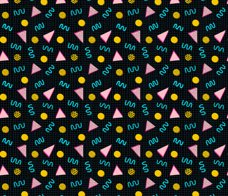 Geometric Memphis in Black fabric by thewellingtonboot on Spoonflower - custom fabric