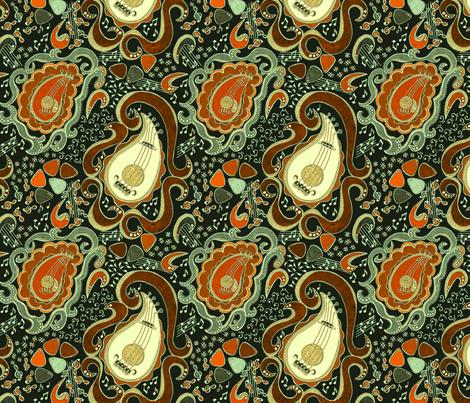 Memphis Paisley Guitars fabric by palifino on Spoonflower - custom fabric