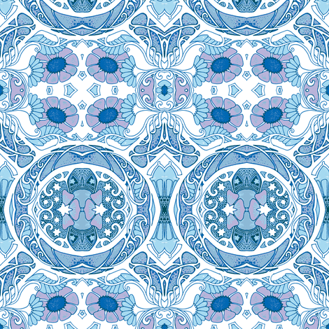 Telling Fortunes Blues fabric by edsel2084 on Spoonflower - custom fabric
