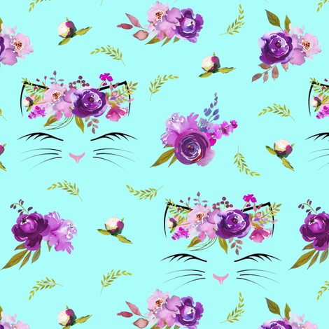 "2"" Purple Floral Cat Heads Aqua fabric by lil'faye on Spoonflower - custom fabric"