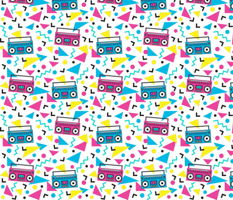 Memphis_Boombox fabric by zapstudios on Spoonflower - custom fabric