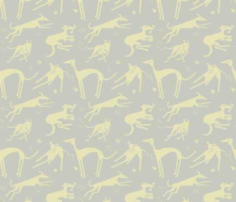 whippet greyhound - yellow gray fabric by wren_leyland on Spoonflower - custom fabric