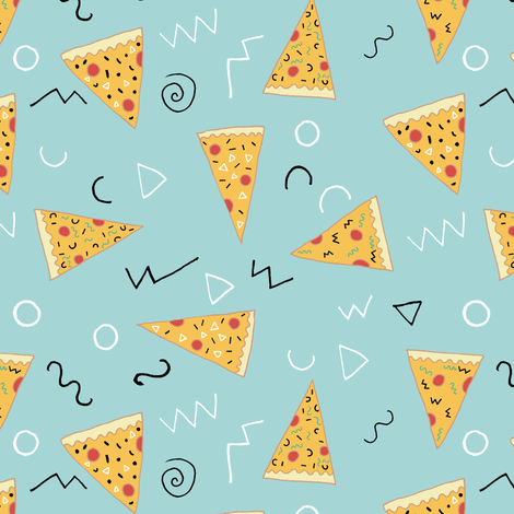 Memphis Pizza Party fabric by tangerine-tane on Spoonflower - custom fabric
