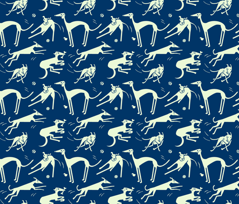 whippet-greyhound-midnight fabric by wren_leyland on Spoonflower - custom fabric
