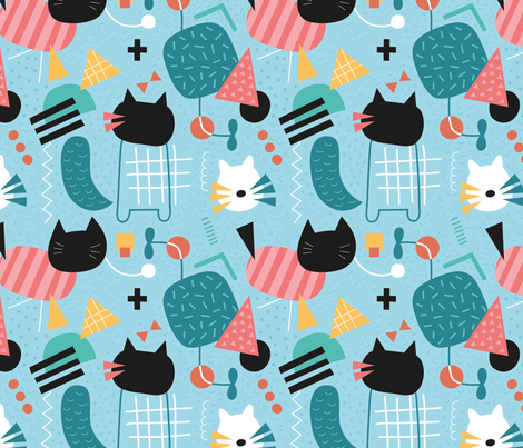 Memphis_cats fabric by la_fabriken on Spoonflower - custom fabric