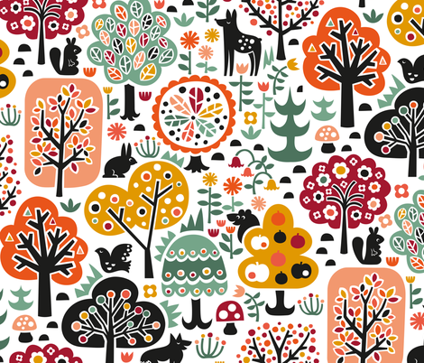 October Forest Walk fabric by christinewitte on Spoonflower - custom fabric