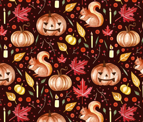 pumpkins and squirrel fabric by marta_strausa on Spoonflower - custom fabric