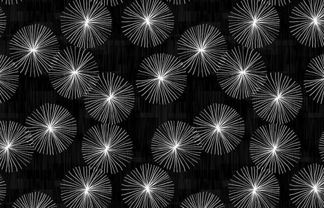 Dandelions Black & White by Friztin fabric by friztin on Spoonflower - custom fabric