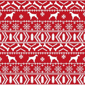Brittany Spaniel fair isle christmas fabric dog breed silhouette red