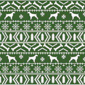Brittany Spaniel fair isle christmas fabric dog breed silhouette green