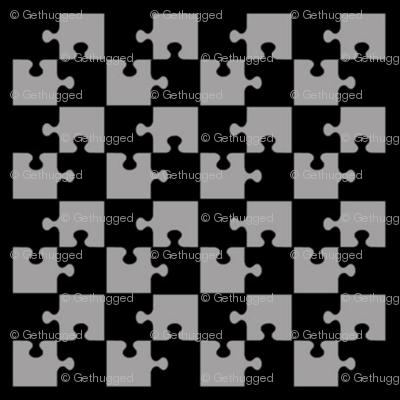 Puzzle Piece Block Grid Black Gray