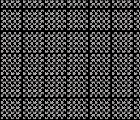 Puzzle Piece Block Grid Black Gray fabric by gethugged on Spoonflower - custom fabric
