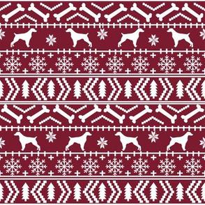 Brittany Spaniel fair isle christmas fabric dog breed silhouette maroon