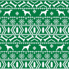 Brittany Spaniel fair isle christmas fabric dog breed silhouette bright green