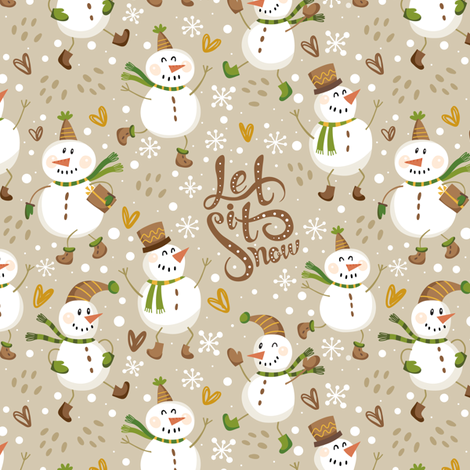 Festive Snowmen - Tan/Brown fabric by malibu_creative on Spoonflower - custom fabric