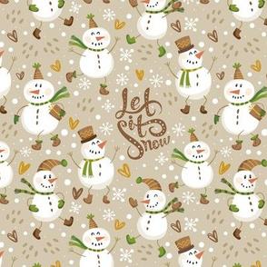 Festive Snowmen - Tan/Brown