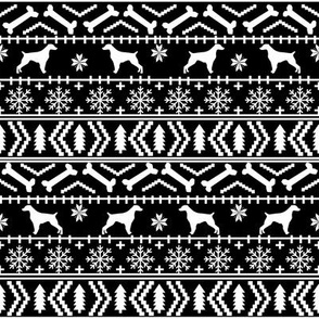 Brittany Spaniel fair isle christmas fabric dog breed silhouette black and white