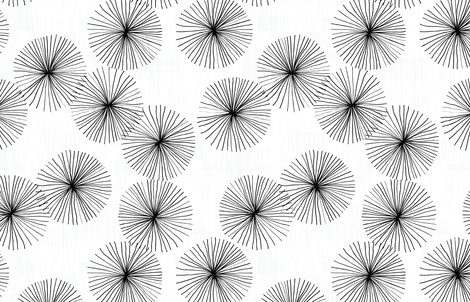 Dandelions White & Black by Friztin fabric by friztin on Spoonflower - custom fabric
