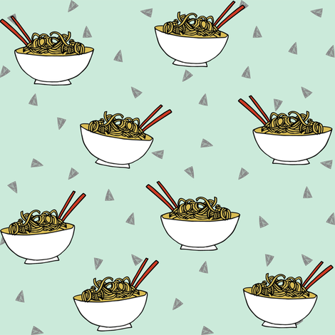 Noodles food kitchen fabric asian noodle bowl mint fabric by andrea_lauren on Spoonflower - custom fabric