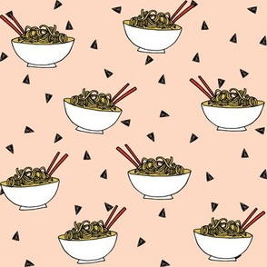 Noodles food kitchen fabric asian noodle bowl  blush