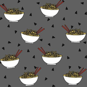 Noodles food kitchen fabric asian noodle bowl grey