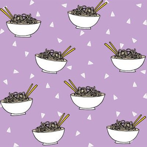 Noodles food kitchen fabric asian noodle bowl purple